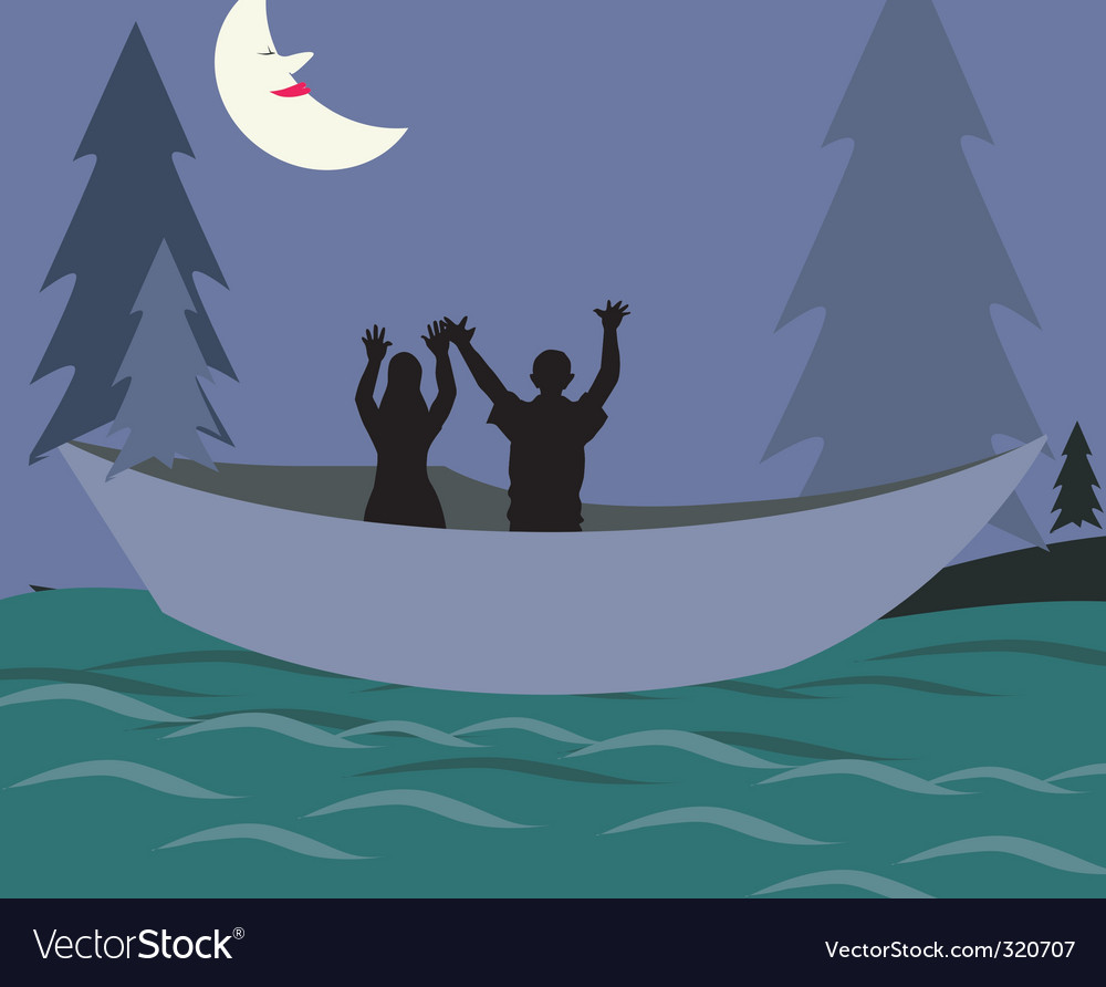 Nighttime fishing vector | Price: 1 Credit (USD $1)