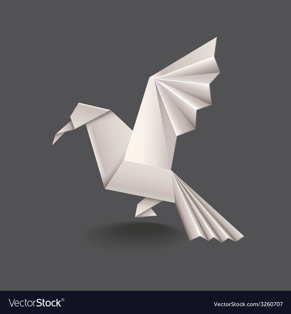 Origami bird isolated vector | Price: 1 Credit (USD $1)