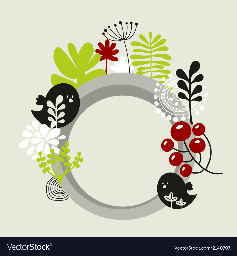 Round banner with spring nature vector   Price: 1 Credit (USD $1)