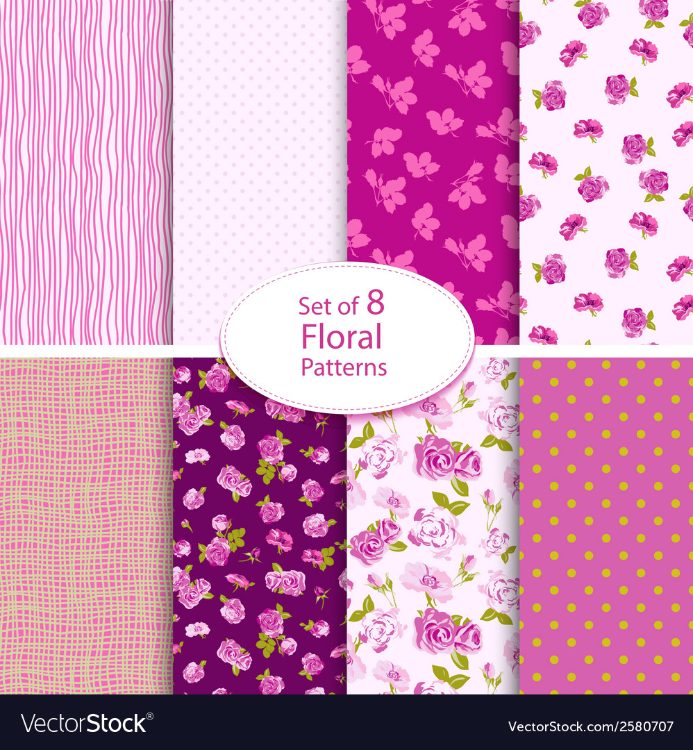 Set of eight seamless floral backgrounds vector | Price: 1 Credit (USD $1)