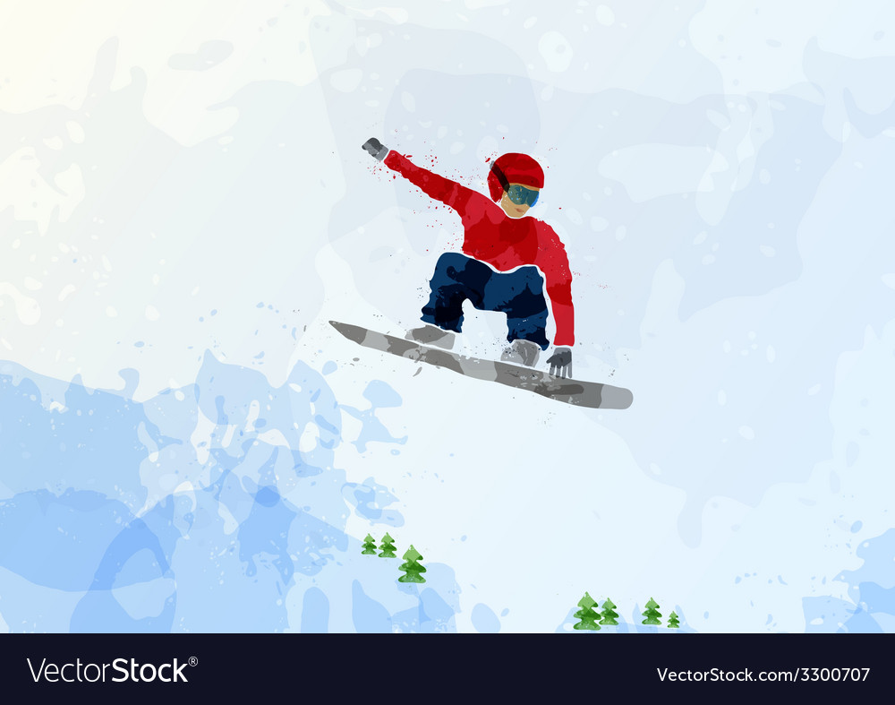 Snowboarder at jump inhigh mountains vector   Price: 1 Credit (USD $1)