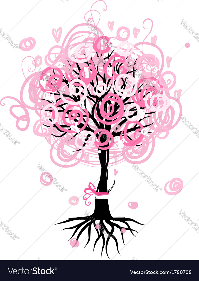 Abstract pink tree with roots for your design vector | Price: 1 Credit (USD $1)