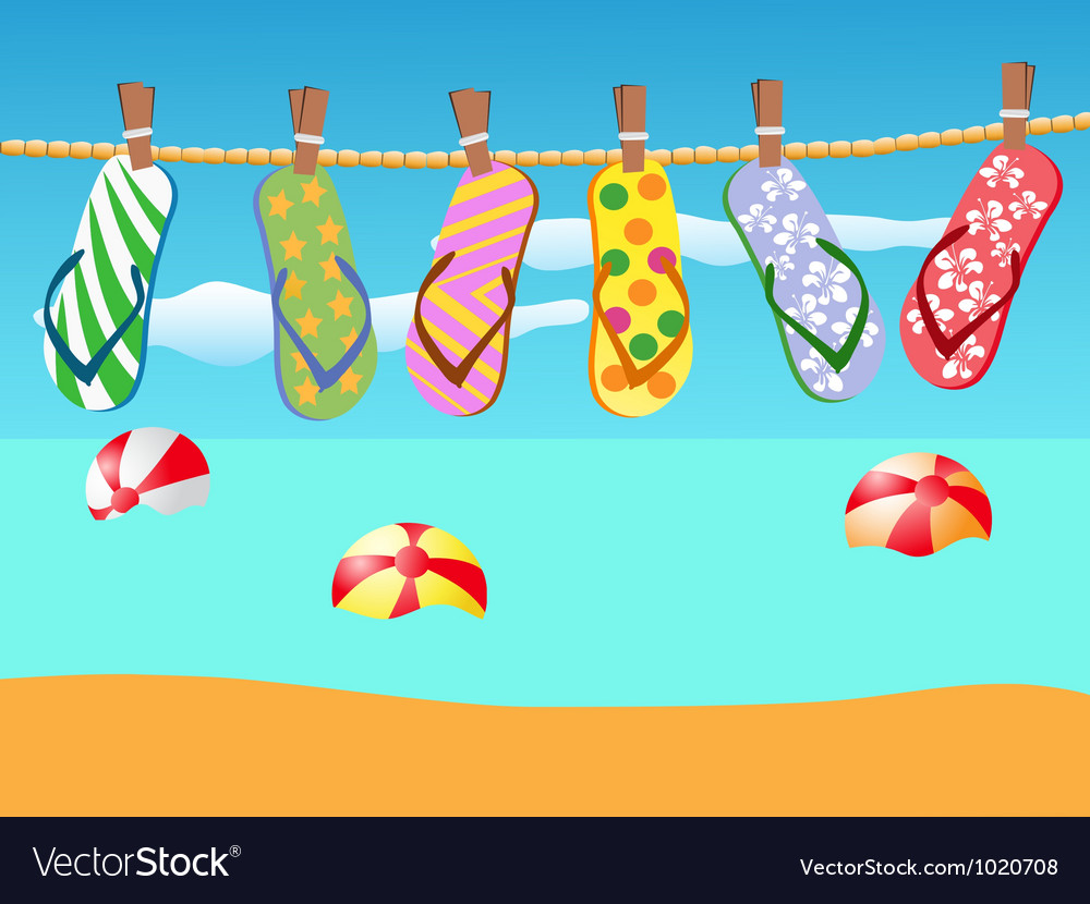 Beach sandals hanged on a rope vector | Price: 1 Credit (USD $1)