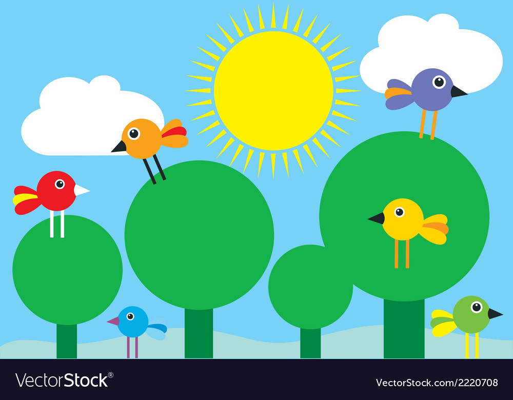 Birds in the trees vector | Price: 1 Credit (USD $1)