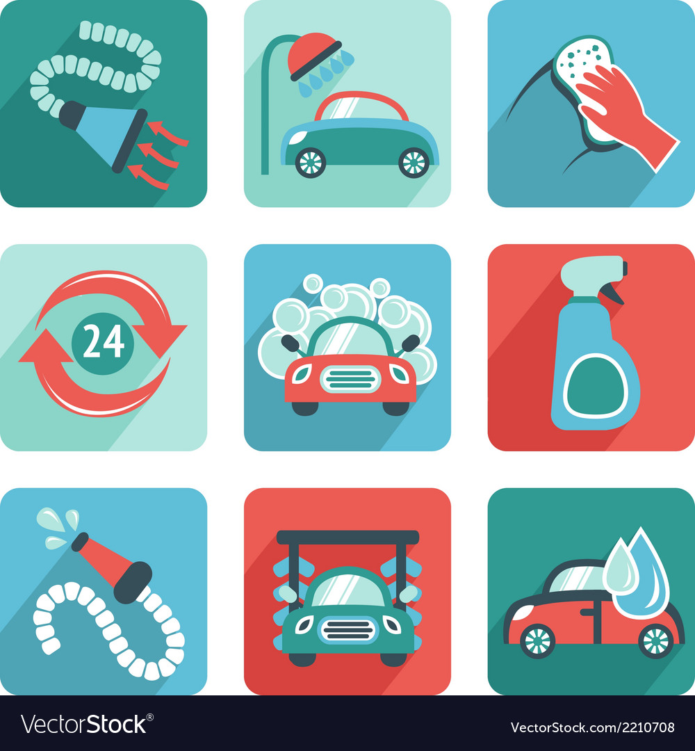 Car wash icons flat vector | Price: 1 Credit (USD $1)