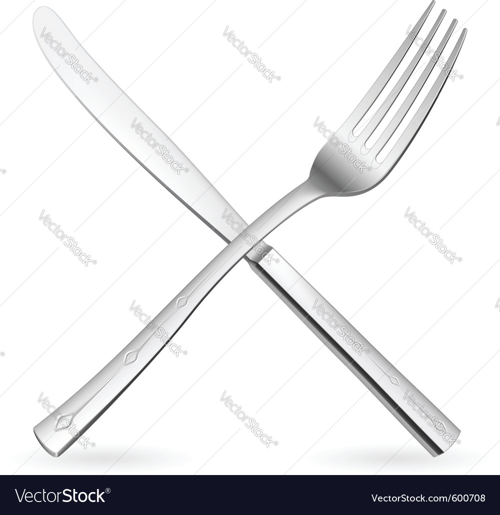 Crossed fork and knife vector | Price: 1 Credit (USD $1)