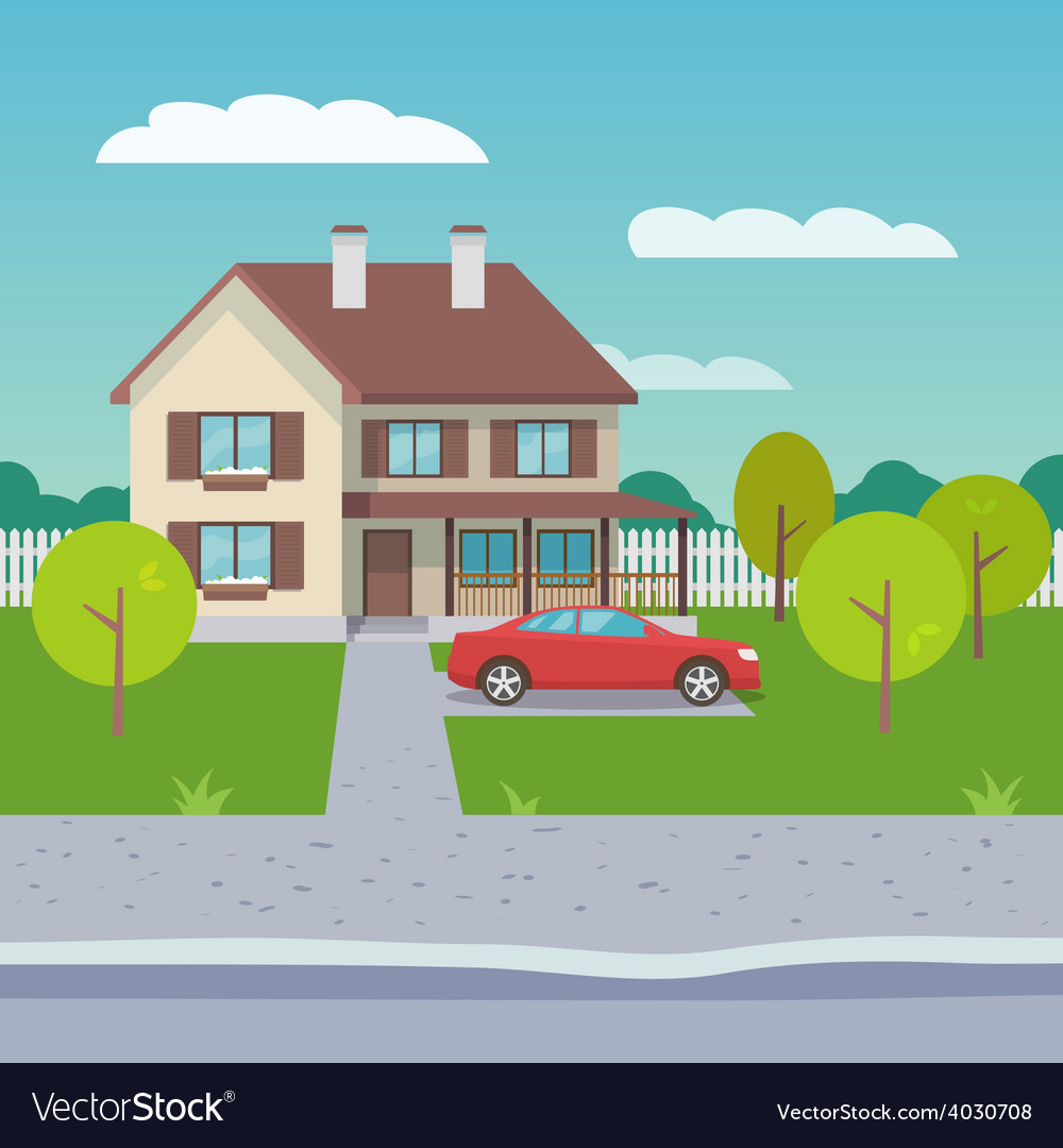 Family house flat vector | Price: 1 Credit (USD $1)