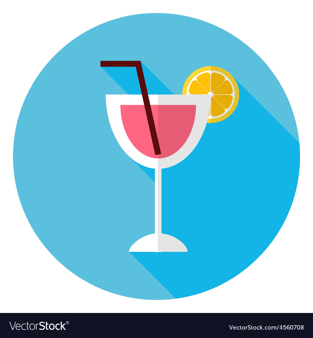 Flat cocktail with orange slice and tubule circle vector | Price: 1 Credit (USD $1)