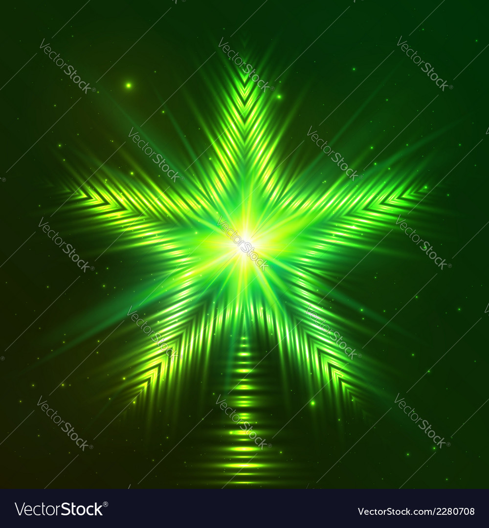 Green shining five-pointed star vector | Price: 1 Credit (USD $1)