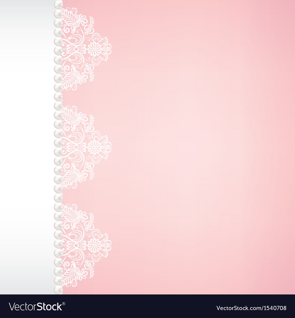 Lace and pearl border on pink background vector | Price: 1 Credit (USD $1)