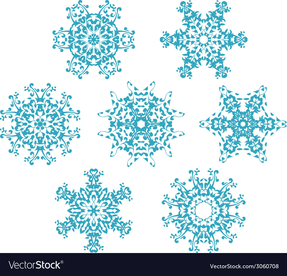 Set of snowflakes1 vector | Price: 1 Credit (USD $1)