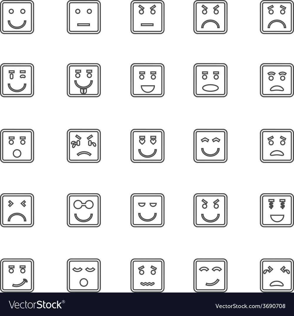 Square face line icons on white background vector | Price: 1 Credit (USD $1)