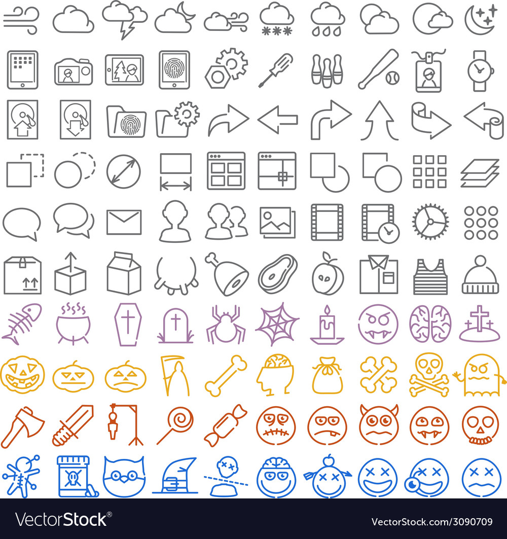 100 icons set vector
