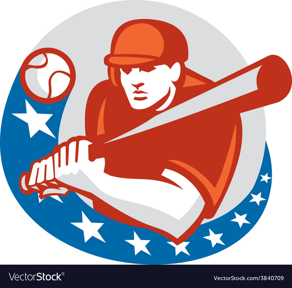 Baseball player batter stars circle retro vector | Price: 1 Credit (USD $1)
