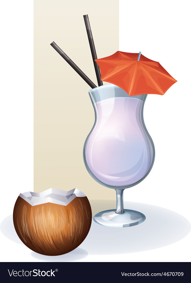 Coconut in goblet of juice cocktail smoothie vector | Price: 1 Credit (USD $1)