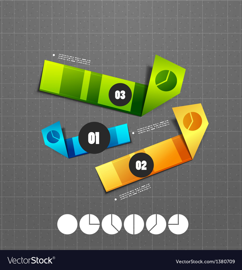 Colorful ribbon infographic steps option banners vector | Price: 1 Credit (USD $1)