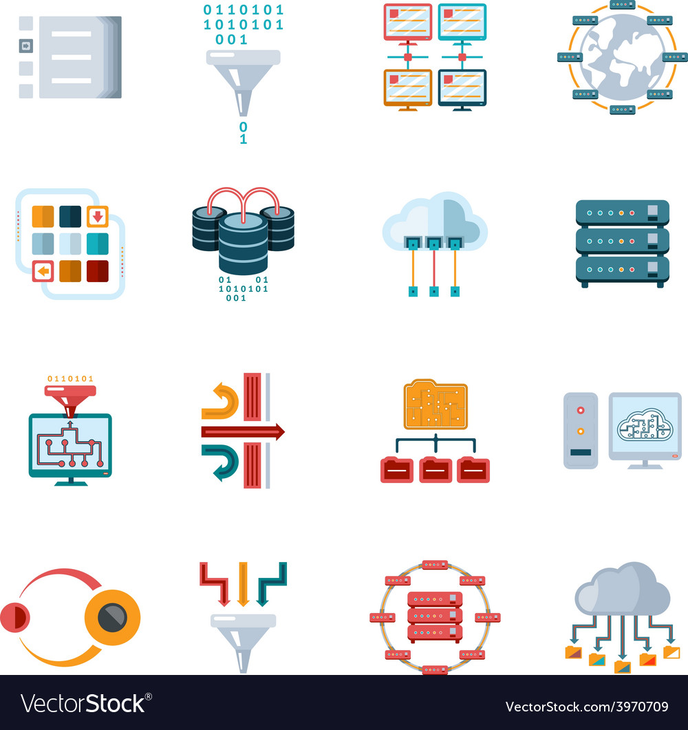 Flat filtering data icons vector | Price: 1 Credit (USD $1)