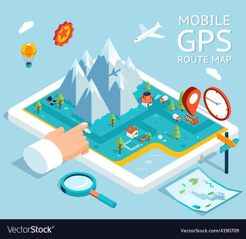 Isometric mobile gps navigation flat map vector | Price: 1 Credit (USD $1)