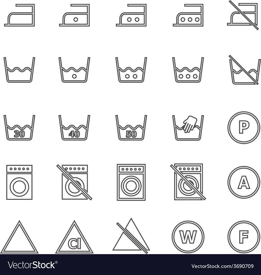 Laundry line icons on white background vector | Price: 1 Credit (USD $1)