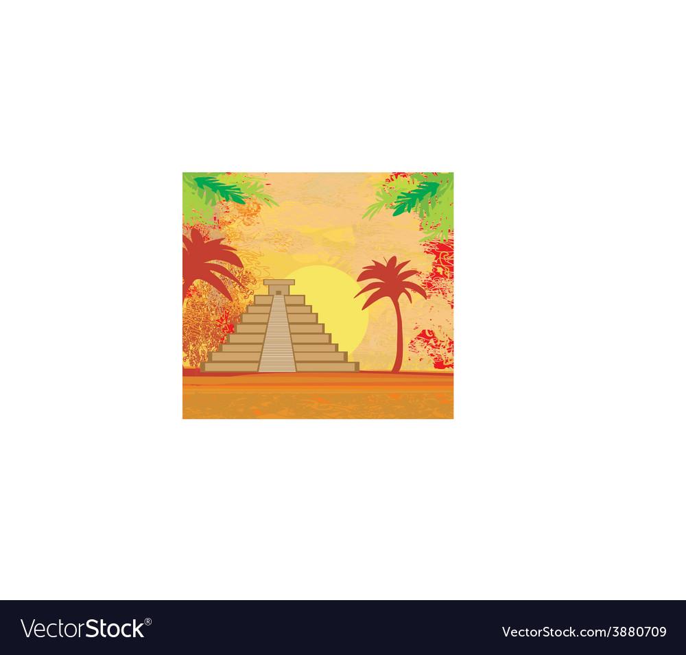 Mayan pyramid chichen-itza mexico - grunge vector   Price: 1 Credit (USD $1)