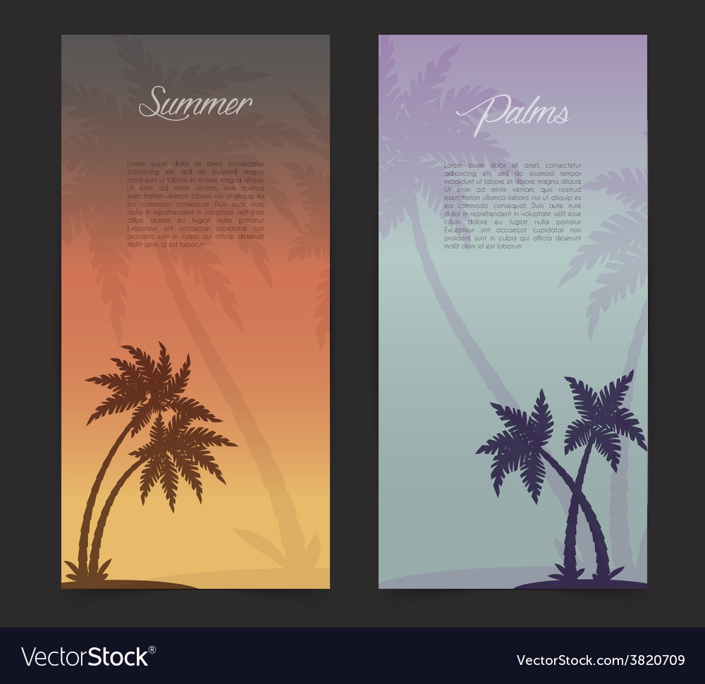 Palms silhouettes card background vector | Price: 1 Credit (USD $1)