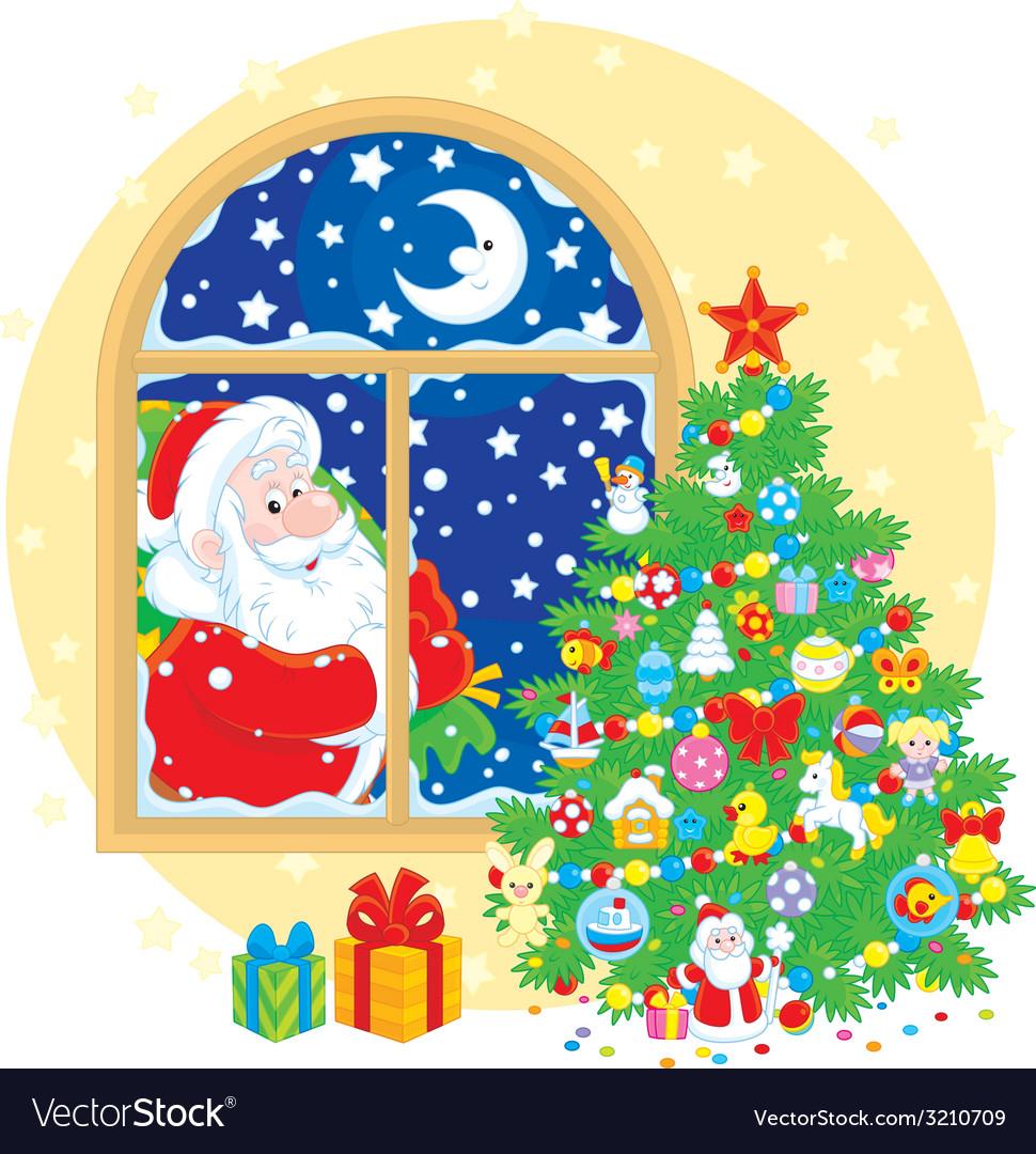 Santa claus and christmas tree vector   Price: 1 Credit (USD $1)