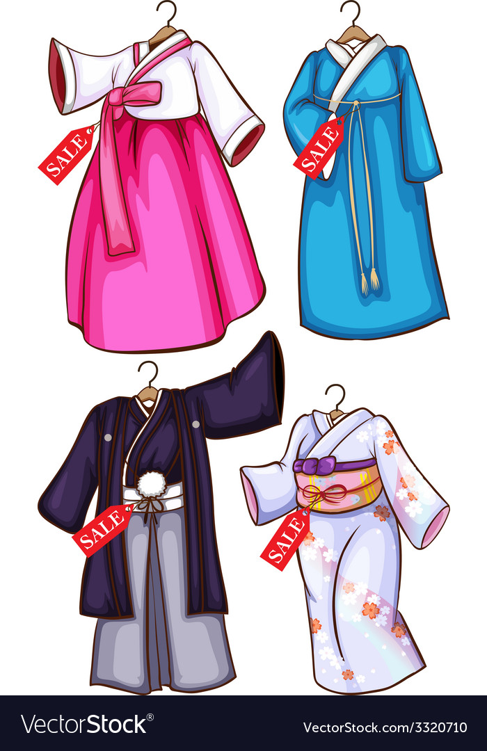 Asian dresses vector | Price: 1 Credit (USD $1)