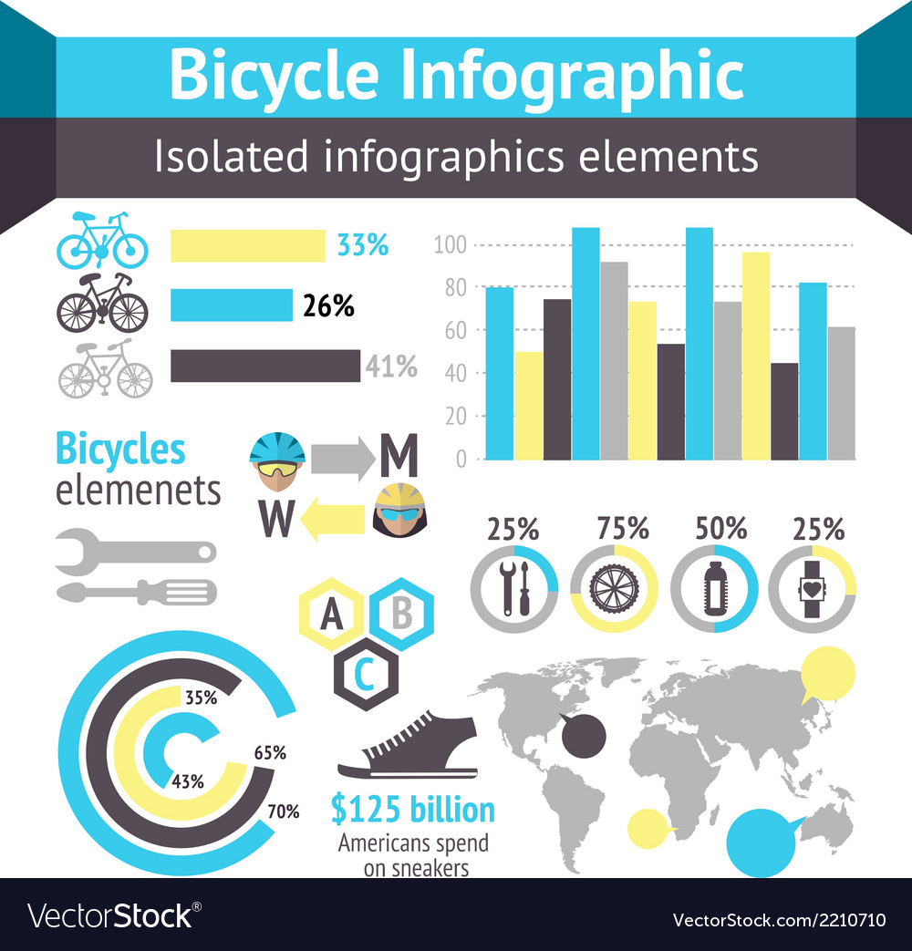 Bicycle infographic elements vector | Price: 1 Credit (USD $1)