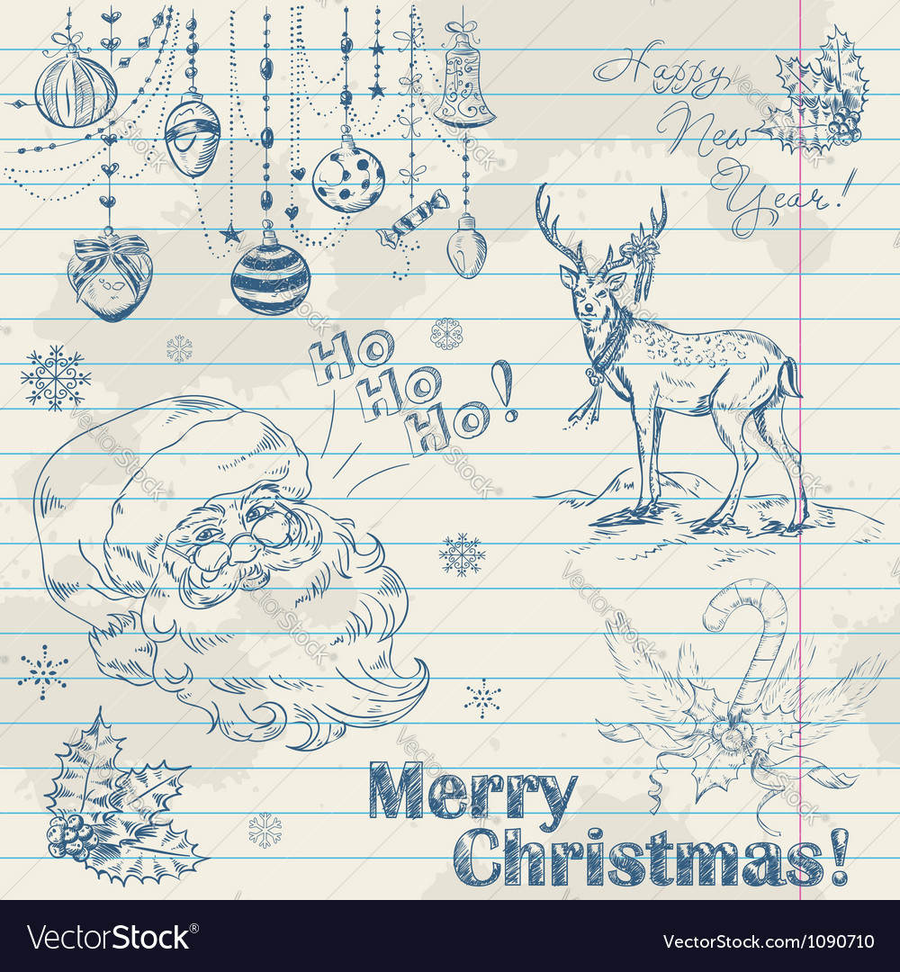 Christmas elements on notebook paper with santa vector | Price: 1 Credit (USD $1)
