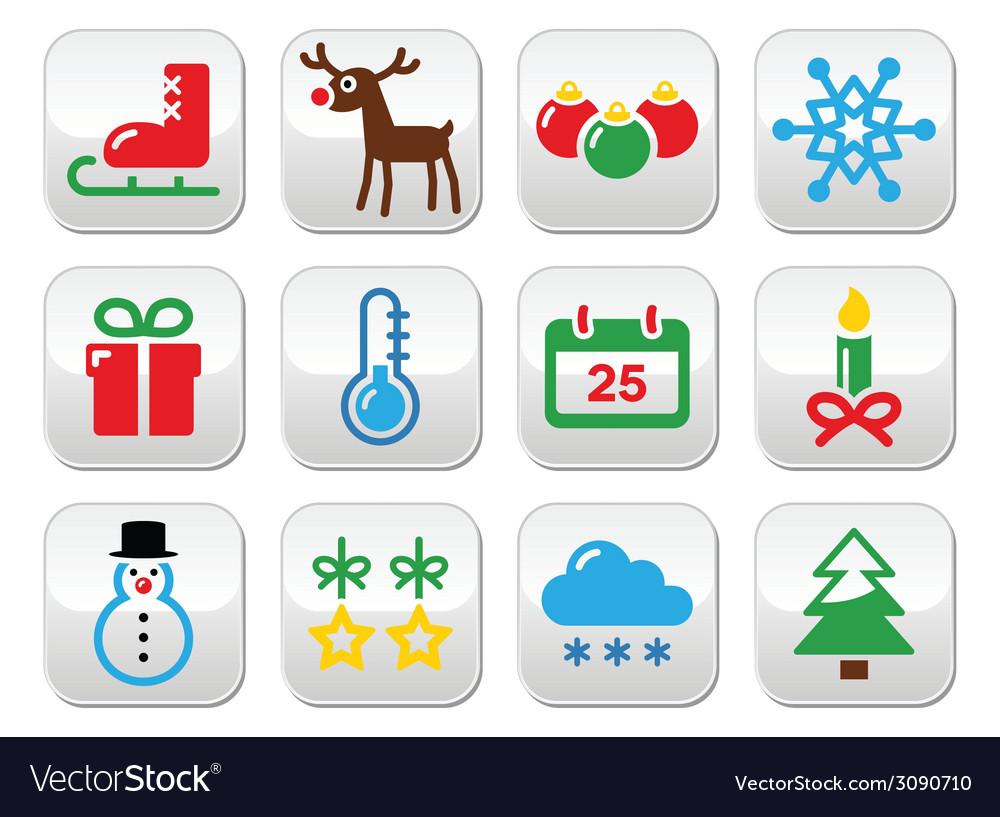 Christmas winter buttons set vector | Price: 1 Credit (USD $1)