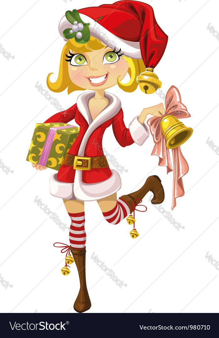 Cute blond girl in santa suit with bell vector | Price: 3 Credit (USD $3)