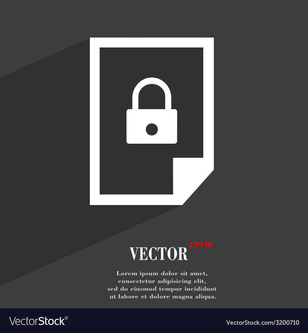 File locked icon symbol flat modern web design vector | Price: 1 Credit (USD $1)