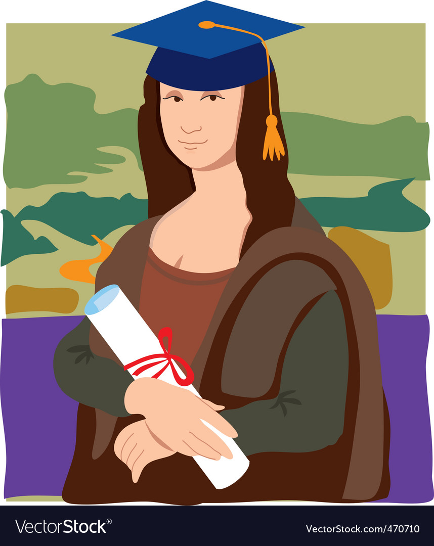 Mona lisa graduate vector | Price: 1 Credit (USD $1)