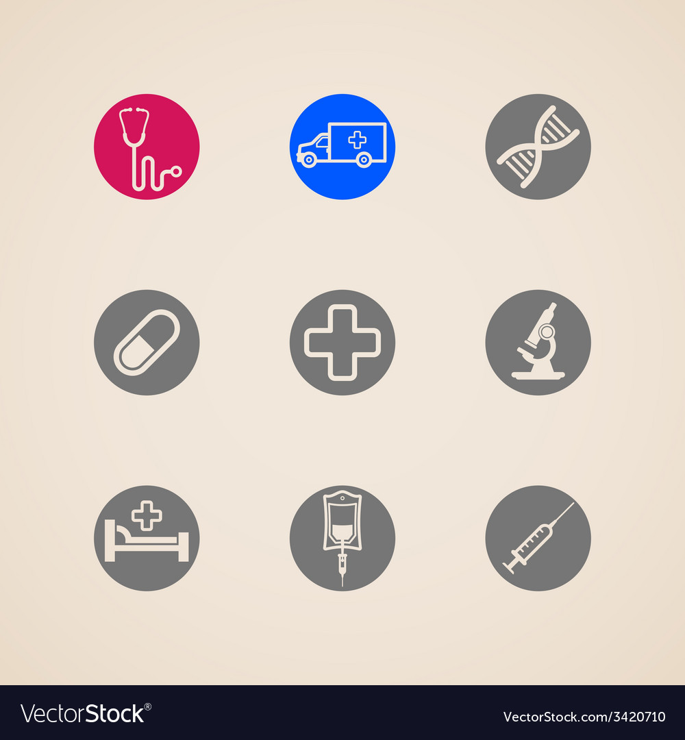 Set of icons with medical items vector | Price: 1 Credit (USD $1)