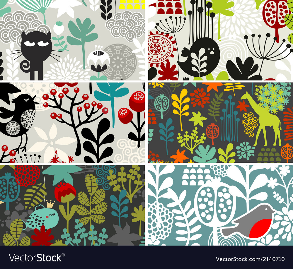 Six cards with floral patterns vector | Price: 1 Credit (USD $1)