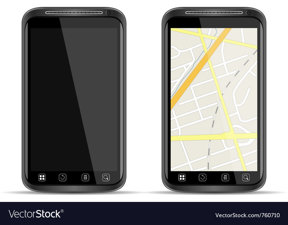 Smart phone with map vector | Price: 1 Credit (USD $1)