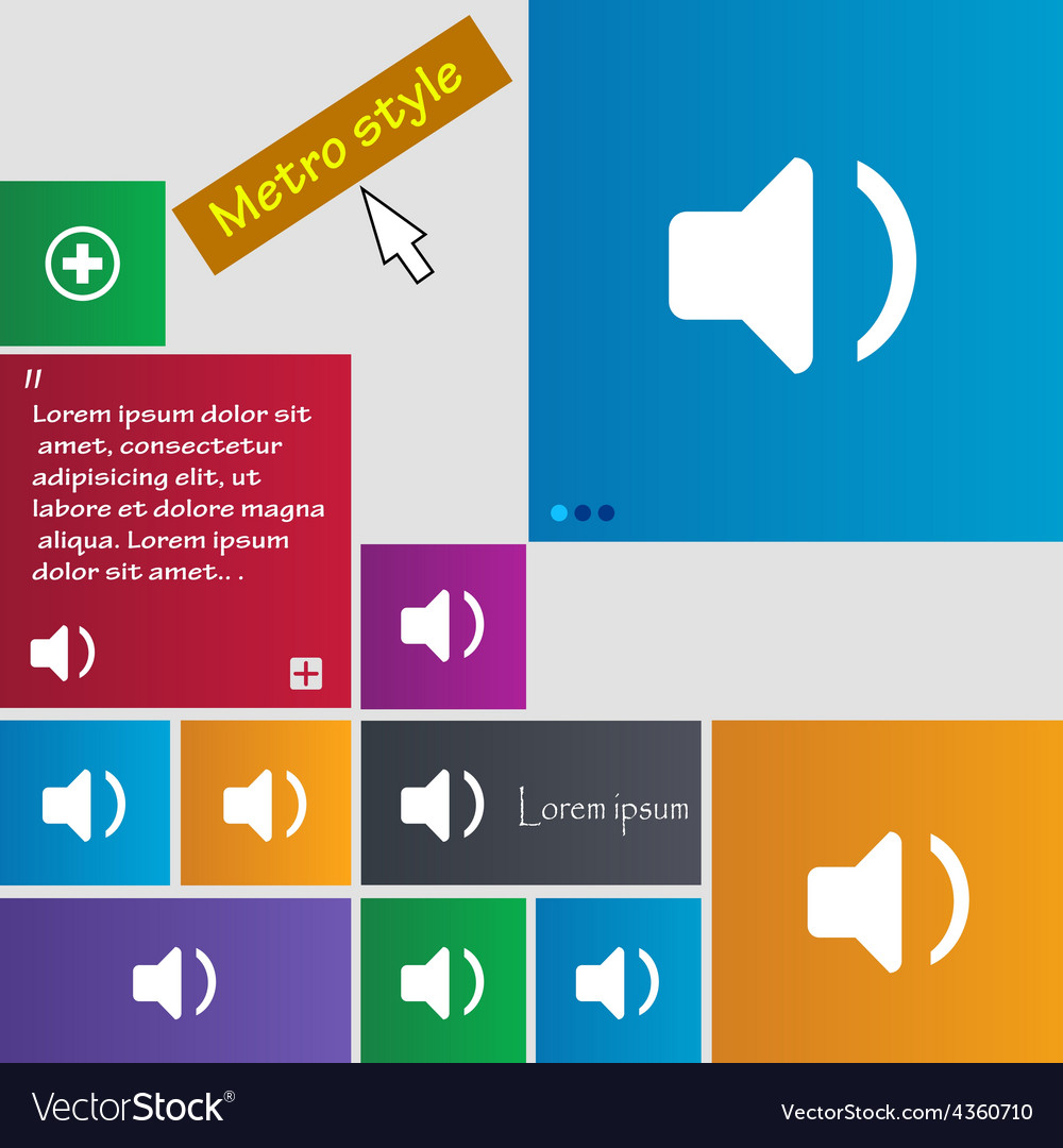 Speaker volume sound icon sign metro style buttons vector | Price: 1 Credit (USD $1)