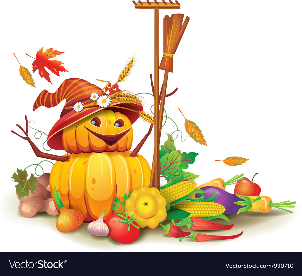 Still life of autumn harvest with a figure of vector | Price: 3 Credit (USD $3)