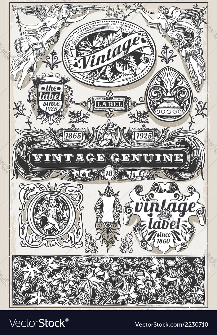Vintage hand drawn retro labels vector | Price: 1 Credit (USD $1)