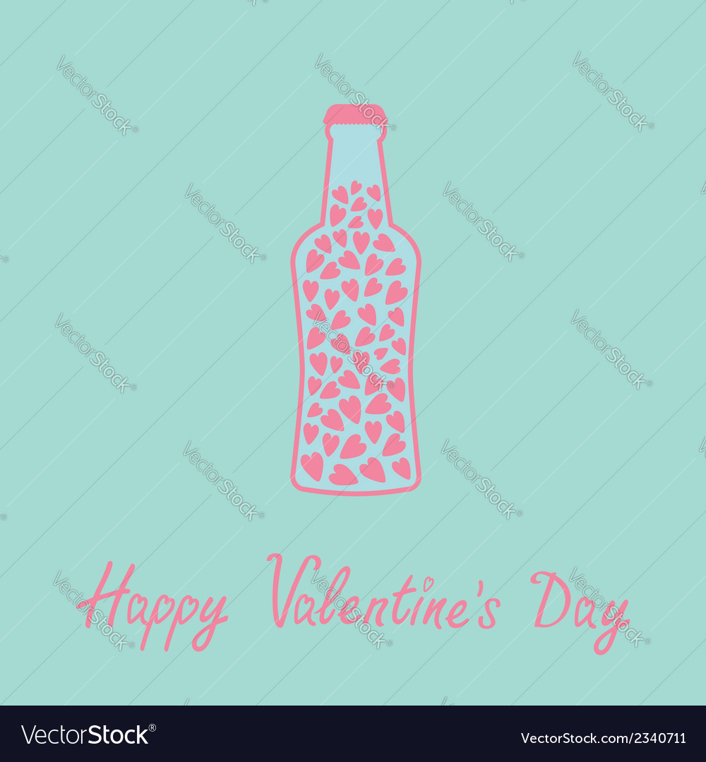 Beer bottle with hearts inside blue and pink love vector | Price: 1 Credit (USD $1)