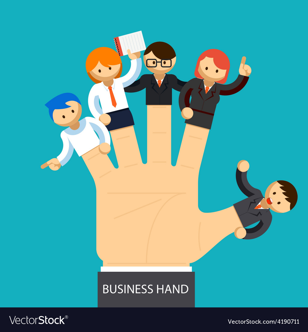 Business hand open hand with employee on fingers vector | Price: 1 Credit (USD $1)