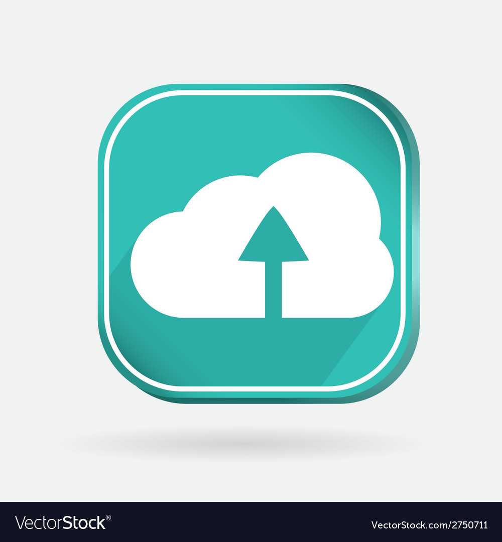 Color icon with shadow cloud download vector | Price: 1 Credit (USD $1)