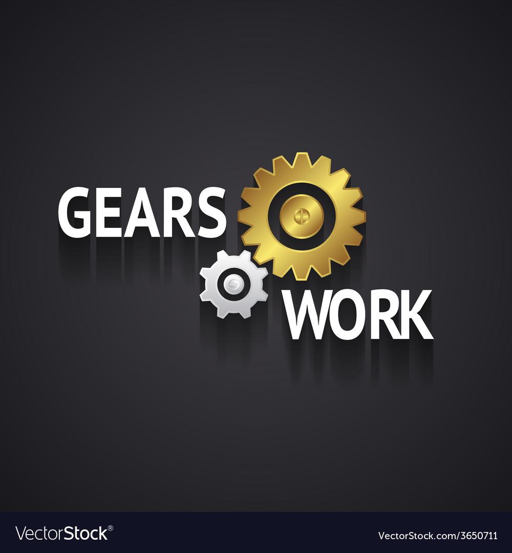 Elegant gear logo design on gray background vector | Price: 1 Credit (USD $1)