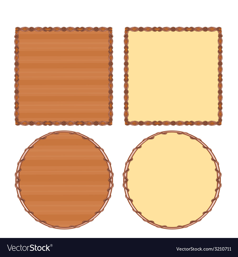 Frame circle and square wood and wicker vector | Price: 1 Credit (USD $1)