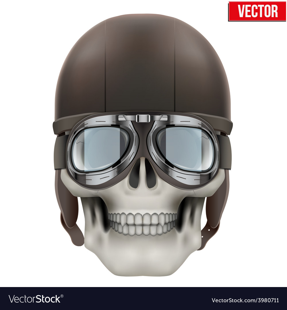 Human skull with retro aviator or biker helmet vector | Price: 3 Credit (USD $3)