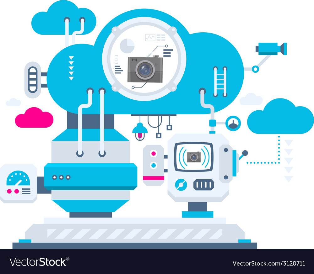 Industrial background of the cloud technolog vector | Price: 1 Credit (USD $1)