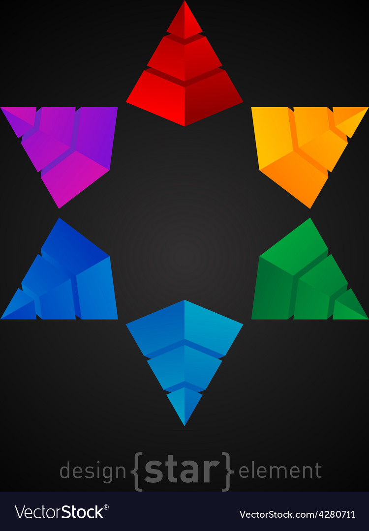Original colorful star made of pyramids vector | Price: 1 Credit (USD $1)