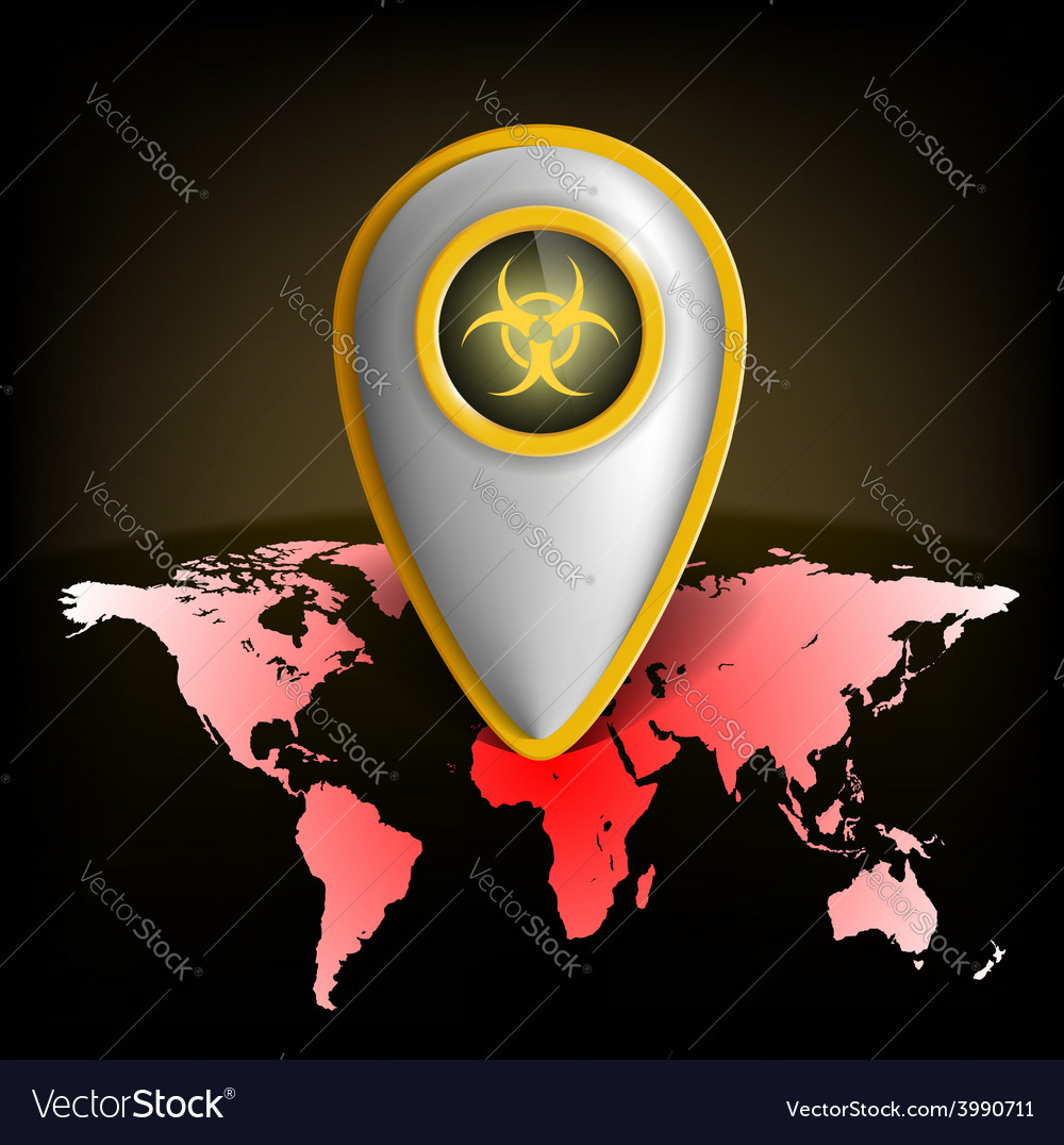 Pointer with the biohazard symbol on a map of the vector | Price: 1 Credit (USD $1)