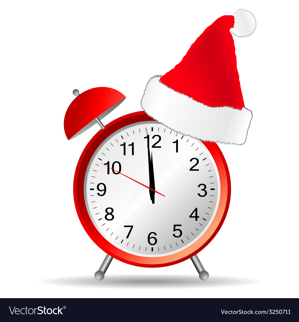 Red clock with christmas hat vector | Price: 1 Credit (USD $1)