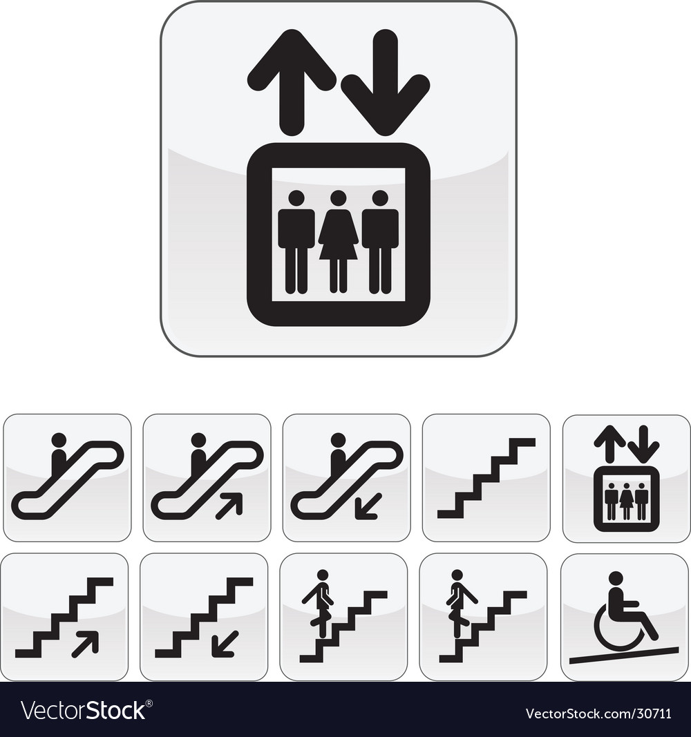 Stairs directions icon set vector | Price: 1 Credit (USD $1)